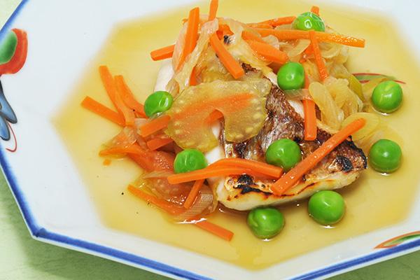 鯛のグリル 野菜あんかけ