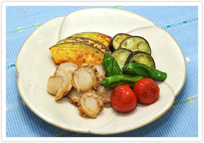ほたて貝と夏野菜グリル