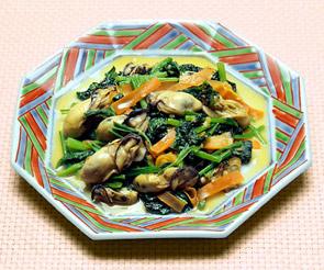 小松菜とかきの炒めもの