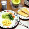 スクランブルエッグとゆで野菜サラダ