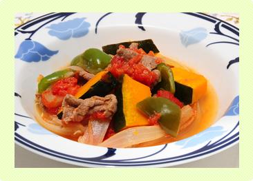 牛肉とかぼちゃのトマト煮