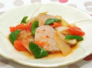 かつおの中華風ピリ辛トマト煮